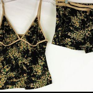 EUC La Perla silk floral cami shorts PJ set sz L